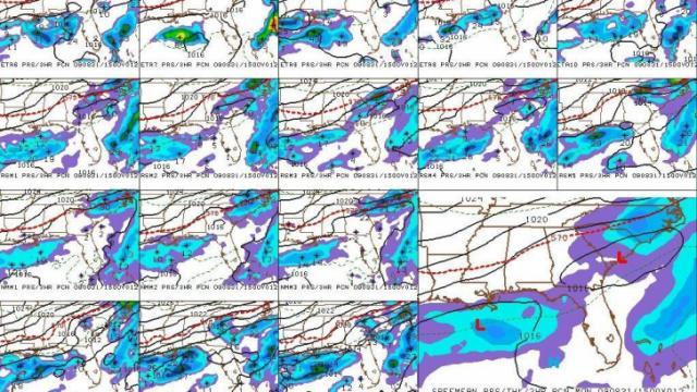 SREF sea level pressure and 3-hour precipitation forecast for 11 am, 31 Aug 09.