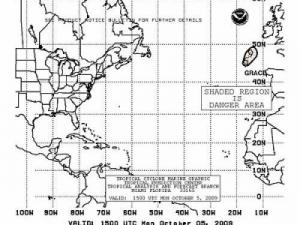 Mariner's Danger Area map from the National Hurricane Center showing TS Grace in the upper right hand corner.