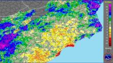 Radar and gauge precipitation departure from normal for the 6 months ending 22 Nov 09. Note several orange areas south of the Triangle where the 6-month deficit exceeds 8 inches.