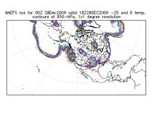 SPaghetti plot of 850 mb isotherms (-25 C, 0 C) at 1 pm on Mon 28 Dec 09.