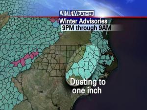 The National Weather Service issued a Winter Weather Advisory for eastern counties in North Carolina Thursday.