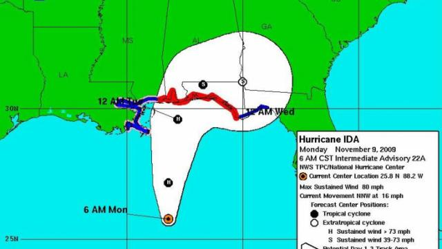 """Forecast """"fan"""" and advisories associated with Hurricane Ida. Watches and warnings for storms like these may be issued between 12 and 24 hours earlier under new policies being implemented for 2010 by the National Hurricane Center."""