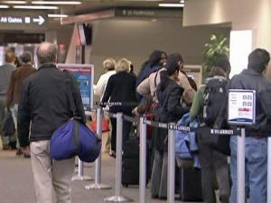 Travelers coped with canceled flights at Raleigh-Durham International Airport ahead of a winter storm on Jan. 29, 2010.
