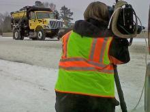 WRAL photojournalist Richard Adkins working hard
