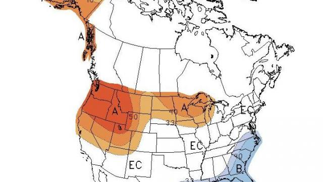 Climate Prediction Center outlook for temperature versus normal for February 2010.