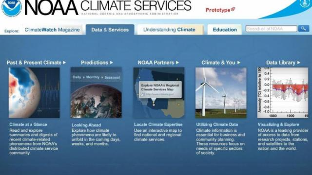"""Screen shot showing the NOAA Climate Services web site with the """"Data & Services"""" tab selected."""
