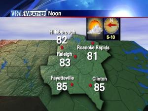Temperatures across the Triangle at noon Friday, June 17, 2010.