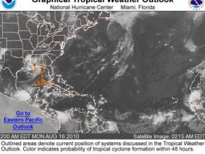 Graphical Tropical Weather Outlook from the National Hurricane Center on Monday morning, 16 August 2010. The orange circle outlines an area with a 50% chance of tropical cyclone development within the next 48 hours.