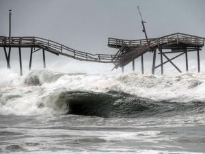 Winds from Hurricane Earl damaged Cape Hatteras Fishing Pier, referred to locally Frisco Pier. (Photo submitted by Donny Bowers)