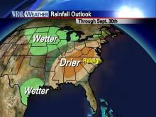 The rainfall outlook for the two-week period ending September 30th, 2010.  Data courtesy: NCDC.