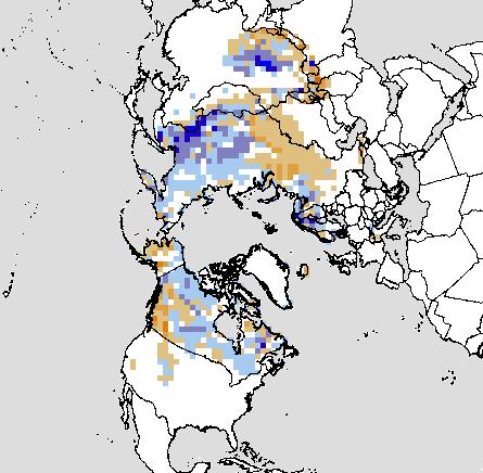 Rutgers Global Snow Lab map showing October 2010 snow cover departure from normal for the Northern Hemisphere.