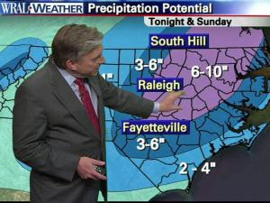 A look at the chance for snow across North Carolina through Dec. 26, 2010.