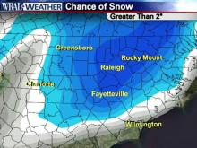 WRAL Chief Meteorologist Greg Fishel takes a look at the probability for various amounts of snow across the Triangle.
