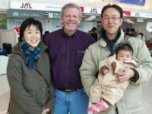 Dennis Williams, a professor at the University of North Carolinas School of Pharmacy, poses with some friends he made while in Japan in March 2011.