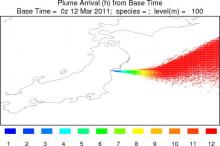 Time-of-arrival contours for a ten-minute plume from Sendai on Monday 14 March, from GFS and the ARL HYSPLIT model.