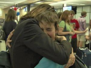 Students from an Exploris Middle School exchange program returned to Raleigh Friday after a week in Japan.