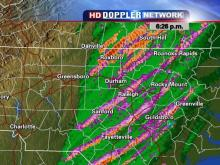Tracks of a storm that hopscotched its way across central NC, stirring up tornadoes and causing widespread damage.