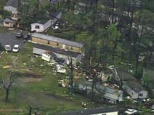 Raw: Sky 5 flies over Stony Brook mobile home park damage