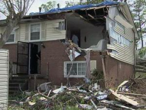 Anna Johnson's house on King Charles Road in Raleigh was heavily damaged during severe weather on April 16, 2011.