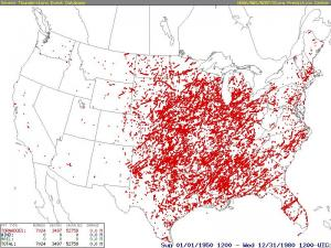 Continental U.S. tornado tracks (F2 and higher) for the period 1950-1980.