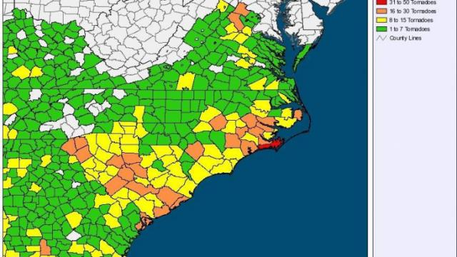 Map from the State Climate Office shaded according to the number of tonadoes affecting each county during the period 1991-2010.