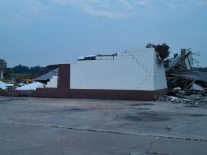 Straight-line winds damanged a cinder block warehouse in Duplin County.