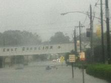Charles Street flooding on ECU campus.
