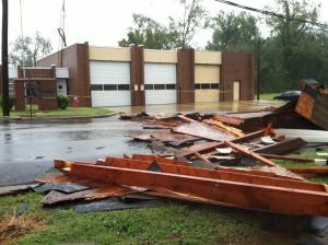 Les Atkins took this photo of damage to the roof of the Weldon Fire Department in Halifax County.