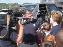 WRAL Chief Meteorologist Greg Fishel and storm chaser Sean Casey brought the Tornado Intercept Vehicle, or TIV, for a visit to Ben Martin Elementary School in Fayetteville on Oct. 27, 2011.