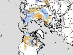 Northern hemisphere snow cover departure from average for October 2011 - white is near normal, shades of blue are above normal and shades of orange are below normal.