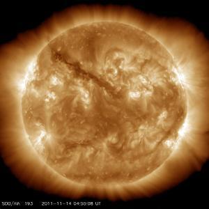 SDO image from 14 Nov 2011 - ultraviolet light reveals magnetic field activity.