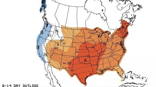 Temperature anomaly projection for the period January 9-15, 2012, indicating the period has a good shot at averaging above normal for much of the central and eastern U.S.