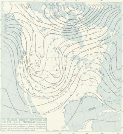 500-millibar pattern at 7 PM on Dec 4, 1960, showing a sharp upper level ridge stretched north-south just to our west.
