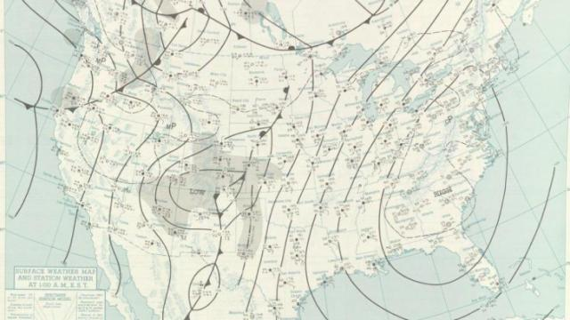 Surface weather map from 1 AM on Dec 4, 1960, with a large, strong and very dry yet mild high pressure center covering the eastern United States. On that day the lowest relative humidity ever observed at RDU was recorded.