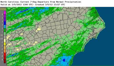 Rainfall departure from normal for the 7-days ending March 5, 2012, showing much of the state near normal for the week, with above normal values across the south and east.