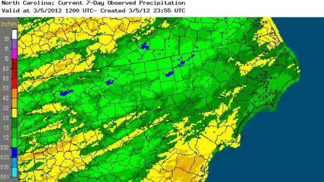 Rainfall estimates from a combination of gauges and radar for the 7-days ending March 5, 2012, showing substantial rain for most of NC over the past week.