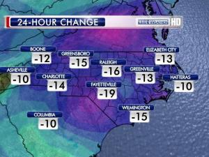 Temperatures plunged by double digits from Wednesday to Thursday.