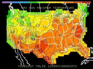 Map of projected high temperatures from the Global Forecast System model output statistics suite for Friday, May 4th 2012. Note the 90+ area covering parts of the Carolinas and Virginia.