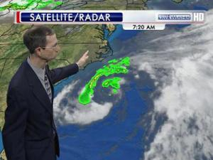 WRAL Meteorologist Mike Moss shows where Tropical Storm Beryl sits in relation the North Carolina coast Saturday, May 26, 2012.