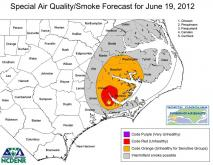 Smoke impacts from the Croatan fire for Tuesday June 19, 2012.