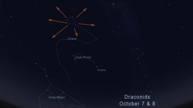 locating the Draconid meteor shower (Credit: Stellarium/Rice)