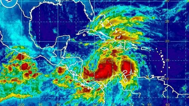 Tropical Storm Sandy seen on infrared satellite over the southern Carribean early on Tuesday, October 23, 2012. The storm should is projected to drift north and intensify in the next day or two.