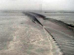 NCDOT posted a photo online of water from Hurricane Sandy washing over the temporary N.C. Highway 12 bridge installed last year.