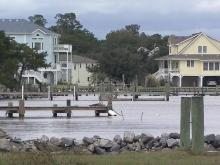 Water in NC sounds barely makes sound as Sandy exits