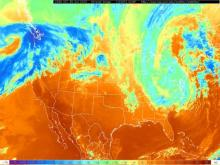 Infrared satellite image from the evening of Oct 30, 2012. Cirrus clouds are evident across much of the northeastern third of the country, in association with a deep upper level trough and the circulation remaining from Sandy.