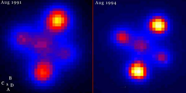 Einstein's Cross viewed in these infrared images taken several years apart reveals changes in the galaxy which bends light from the quasar behind it (Credit:  G. Lewis (IOA), M. Irwin (RGO), WHT)