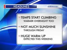 The steady climb toward 70-degree weather begins in earnest Wednesday as warm air begins pushing its way into central and eastern North Carolina from the Gulf of Mexico, WRAL meteorologist Elizabeth Gardner said.