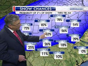 The chance that Raleigh will see 2 or more inches of snow on Thursday is 62 percent, with chances to the northwest (Roxboro) at 82 percent and southeast (Fayetteville) at just 11 percent, WRAL Chief Meteorologist Greg Fishel said Wednesday.