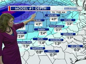 Snowfall could accumulate 1 to 3 inches in the Triangle Thursday night into Friday morning.
