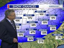 Snowfall could accumulate 1 to 3 inches on grassy and elevated surfaces in the Triangle before the winter weather system quickly tracks off the North Carolina coast by early Friday morning. Some forecasting models show as many as 4 inches falling in Raleigh to 5.5 inches in Roxboro, but WRAL Chief Meteorologist Greg Fishel said it all depends on how hard the storm hits.